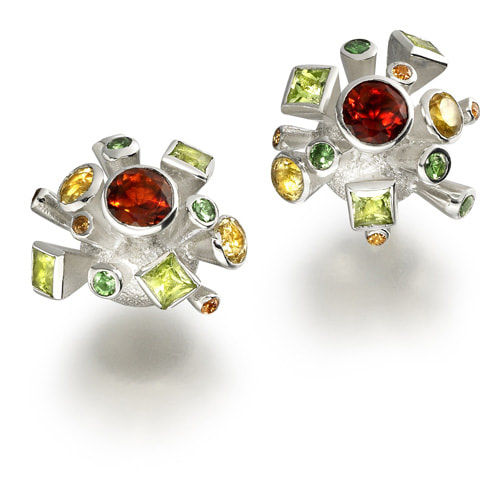 Justin Richardson Silver 'Spring' Explosion Earrings Set With Garnet, Peridot & Cirtine