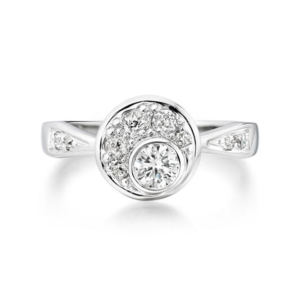 Justin Richardson Palladium Cluster Engagement Ring With Offset Diamond