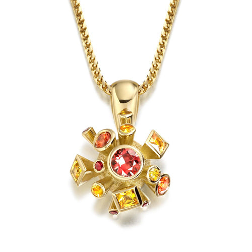 Justin Richardson Yellow Gold 'Fire' Explosion Pendant Set With Sapphires & Rubies