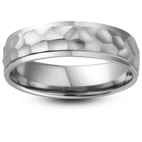 Palladium Hammered Finish Wedding Ring