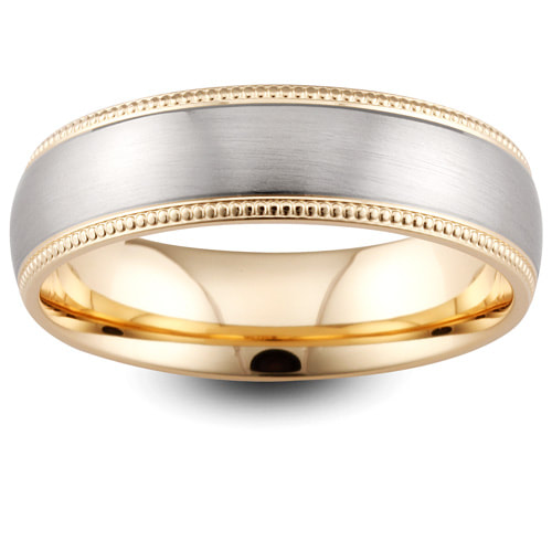 Yellow & White Gold Wedding Ring Millgrained Edges