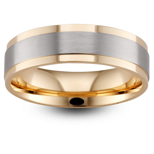 Yellow & White Gold Wedding Ring With Stepped Edges