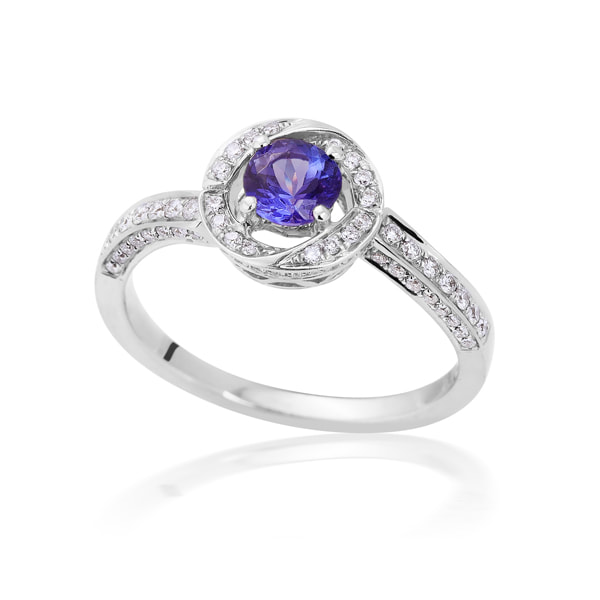 Justin Richardson White Gold Tanzanite Diamond Ring
