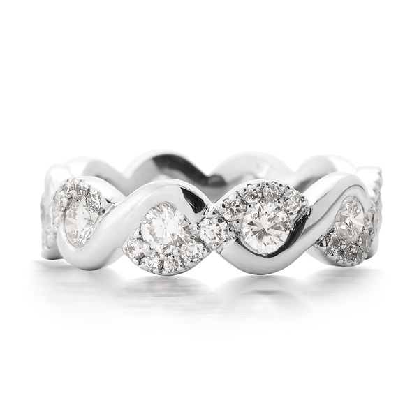 Platinum & Diamond Wavy Full Eternity Ring