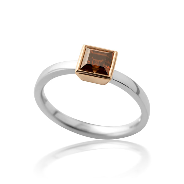 Justin Richardson Platinum & Red Gold Ring With Brown Diamond