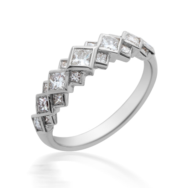 Platinum Princess Cut Diamond 1/2 Eternity Ring