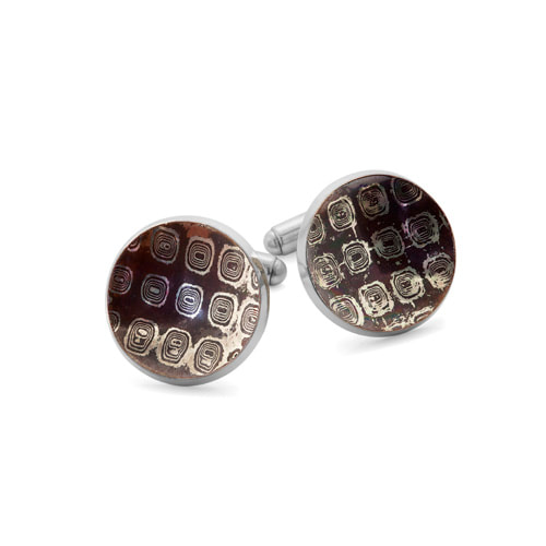 Justin Richardson Sterling Silver Concaved Mokume Cufflinks