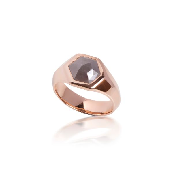 Red Gold Hexagonal Grey Rose Cut Diamond Set Signet Ring