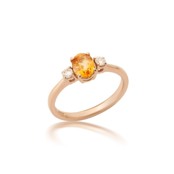 Justin Richardson Red Gold Orange Sapphire & Diamond Ring