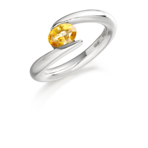 Justin Richardson White Gold Split Ring With Oval Orange Sapphire