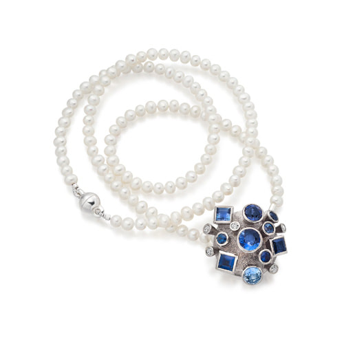 Justin Richardson Palladium Explosion Pendant Set With Sapphire & Diamond On Pearl Necklace