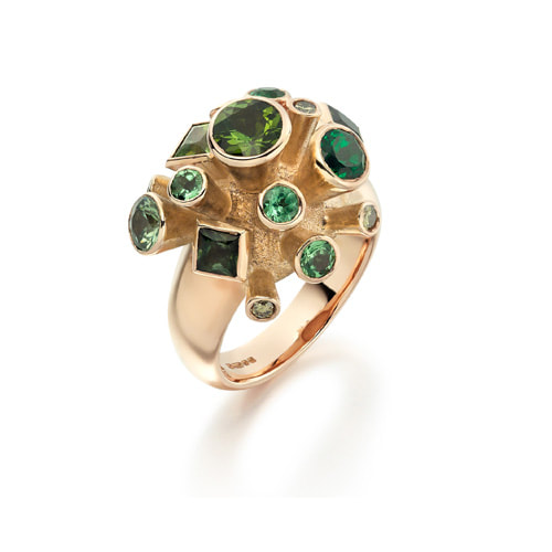 Justin Richardson Red Gold Explosion Ring Set With Garnet, Tourmaline & Green Diamond