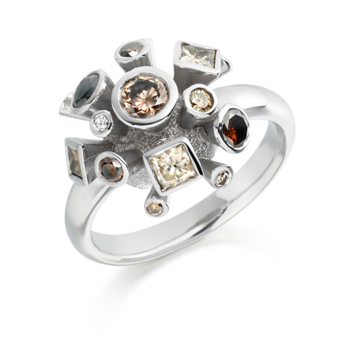 Justin Richardson White Gold Brown Diamond Explosion Ring