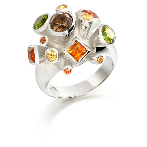 Justin Richardson Silver 'Autumn' Explosion Ring Set With Pearl, Tourmaline Garnet & Peridot