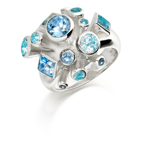 Justin Richardson Silver 'Ocean' Explosion Ring Set With  Topaz