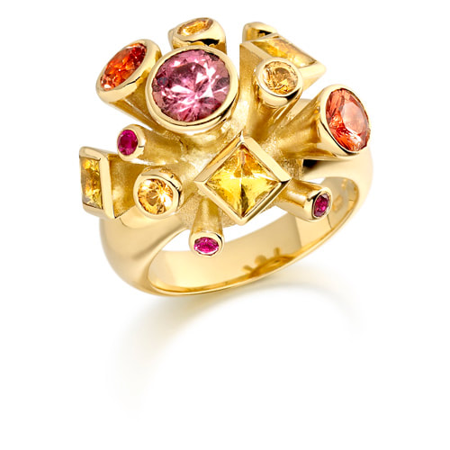 Justin Richardson Yellow Gold 'Fire' Explosion Ring Set With Sapphires