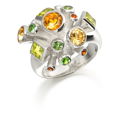 Justin Richardson Silver 'Citrus' Explosion Ring Set With Citrine, Peridot & Tsavorite Garnet