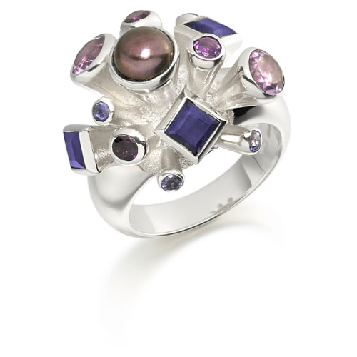 Justin Richardson Silver 'Berry' Explosion Ring Set With Amethyst & Lolite