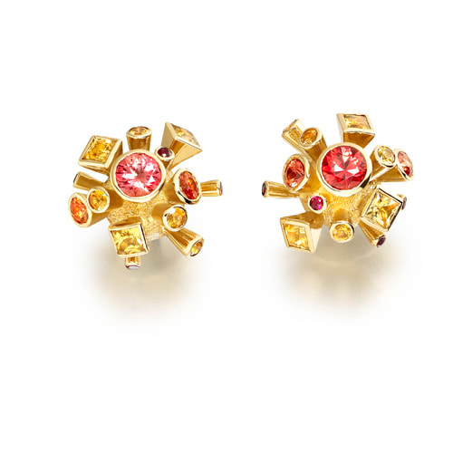 Justin Richardson Yellow Gold 'Fire' Explosion Earrings Set With Sapphires & Rubies