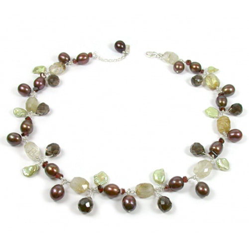 Justin Richardson Sterling Silver Pearl & Quartz Beaded Bracelet