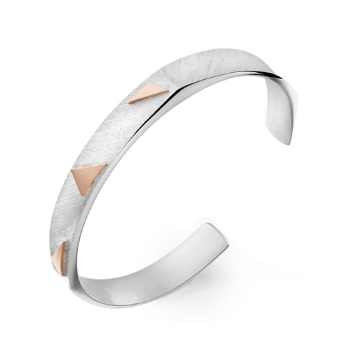 Sterling Silver Multi Justin Richardson Line Engraved Grab Bangle With Rose Gold Triangles