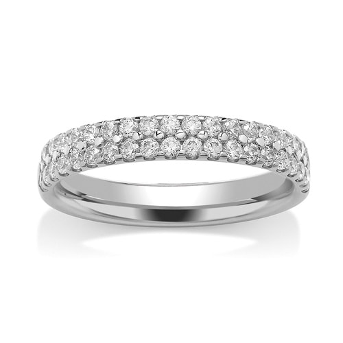Platinum & Double Row Diamond Set Wedding Ring