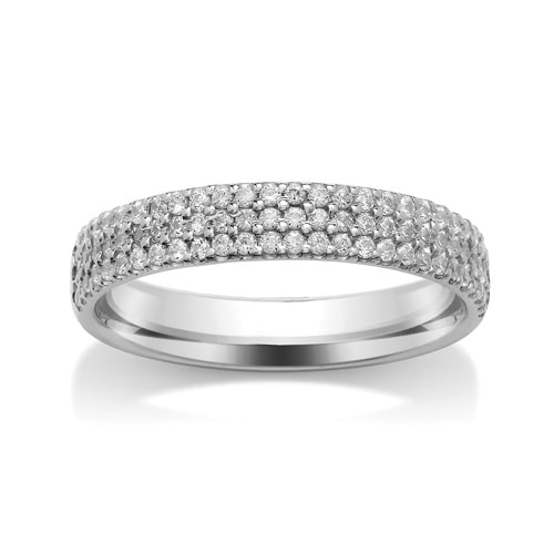 Platinum & Triple Row Diamond Set Wedding Ring